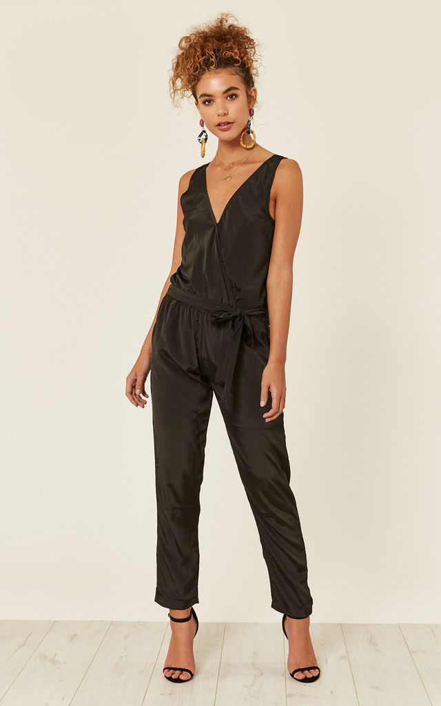 Take Me Out Open Back Jumpsuit Black by likemary