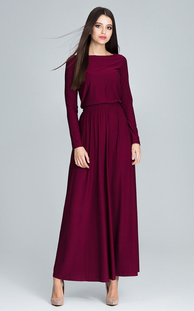 Deep Red Maxi Dress With Long Sleeves by FIGL 6241331d5