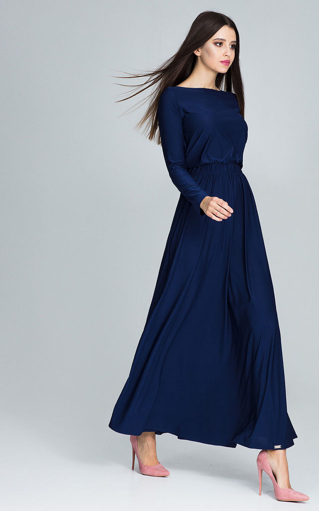 93b033cae5 Navy Maxi Dress With Long Sleeves | FIGL | SilkFred