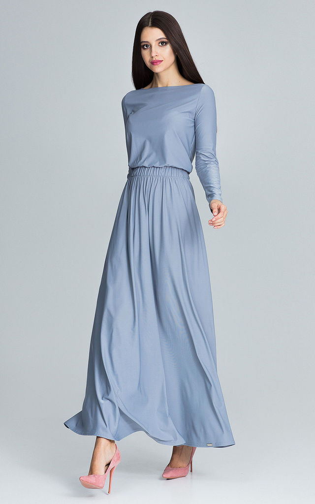 ... Grey Maxi Dress With Long Sleeves by FIGL ... 542510b8c