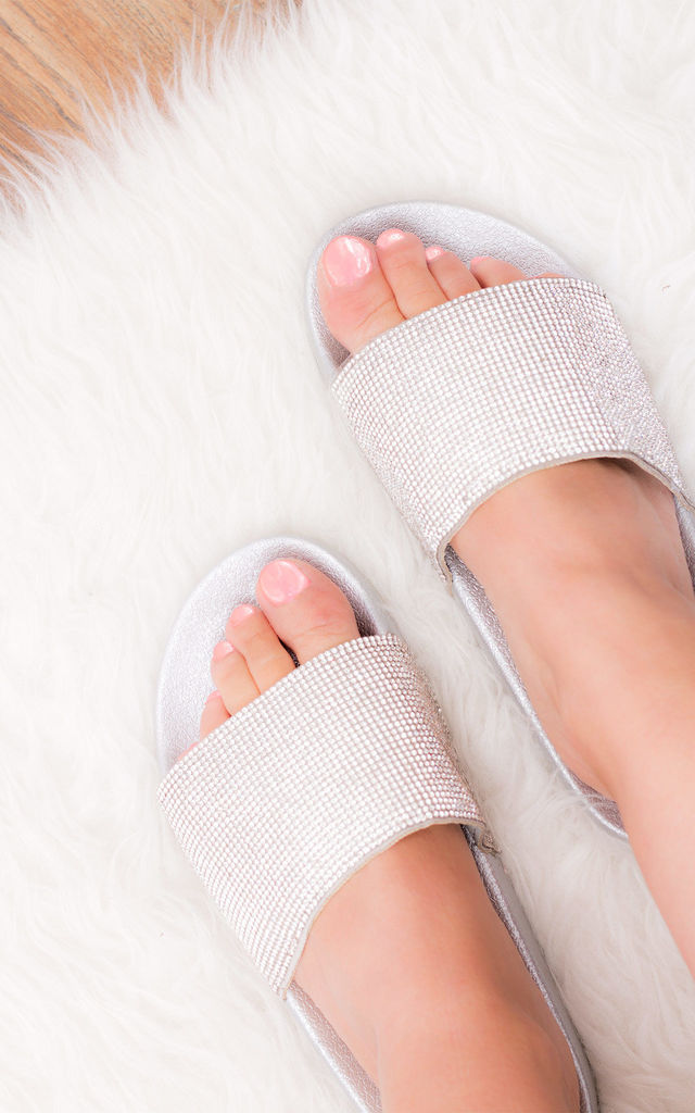 CLAIM ME Diamante Sparkle Strap Sliders - Silver Leather Style by SpyLoveBuy