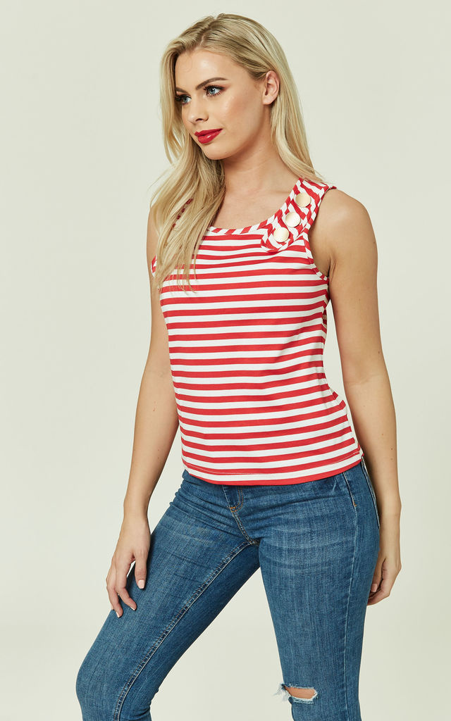 Red Striped Sailor Top by CUBIC