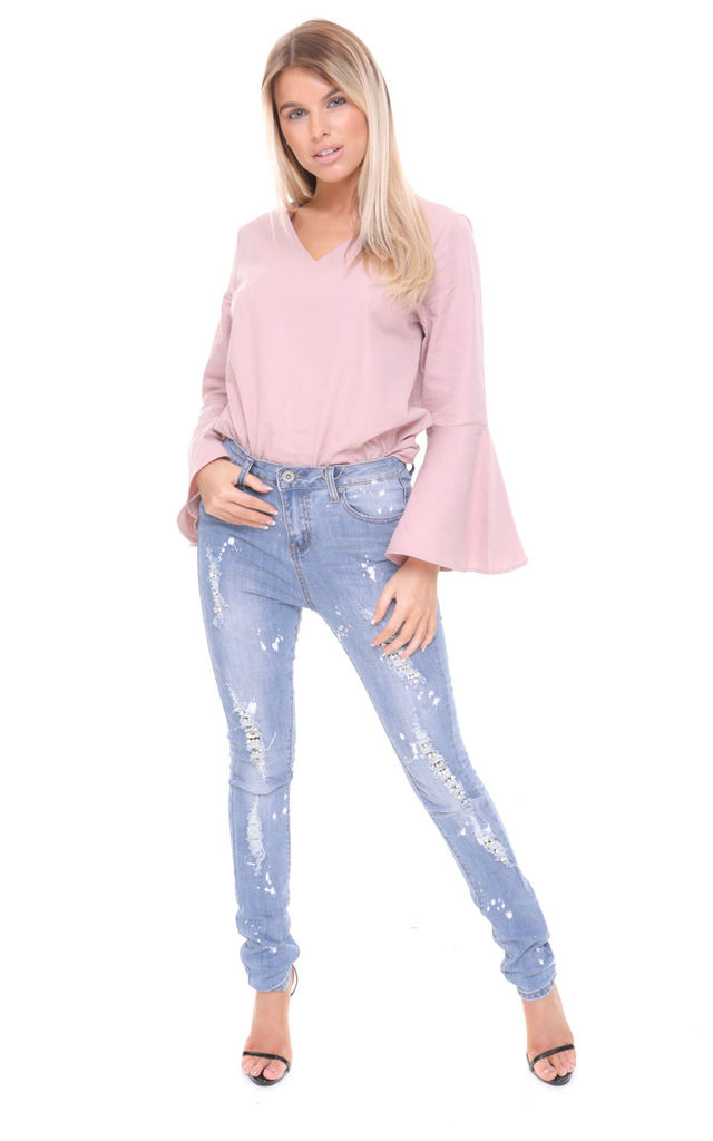 Ripped Diamante Jewel Detail Skinny High Waist Jeans by Urban Mist