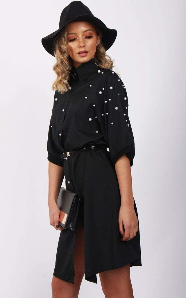 Black Long Pearl Detail Blouse Shirt Dress by Urban Mist