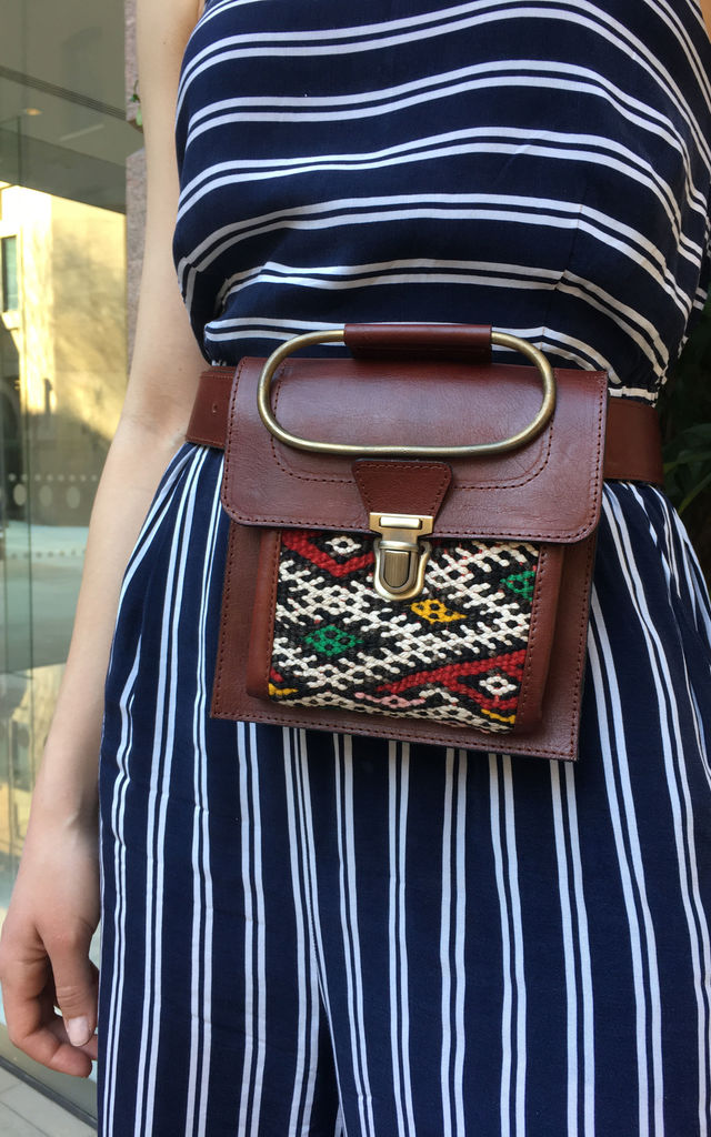 Aziza Belt Bag - Chocolate brown by SNAZZY LONDON