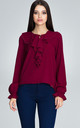 Long Sleeve Blouse with Keyhole Detail in Deep Red by FIGL