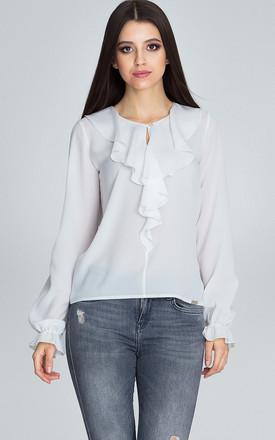 Ecru Blouse With Long Sleeves And With a Button by FIGL