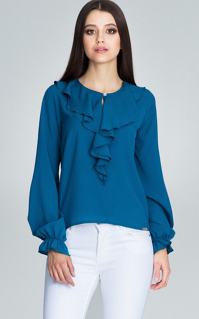 Long Sleeve Blouse with Keyhole Detail in Teal by FIGL