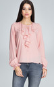 Long Sleeve Blouse with Keyhole Detail in Light Pink by FIGL
