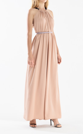 Two Tone Halterneck Jumpsuit with Pastel Belt (With Faux Leather Belt) in Blush and Navy by Paisie
