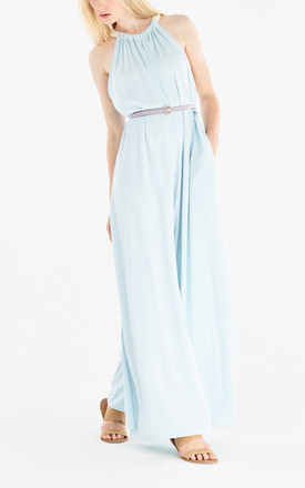 Two Tone Halterneck Jumpsuit with Pastel Belt (With Faux Leather Belt) in Light Blue and White by Paisie