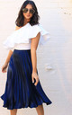 Metallic Satin Pleated High Waisted Midi Skirt in Navy Blue by One Nation Clothing