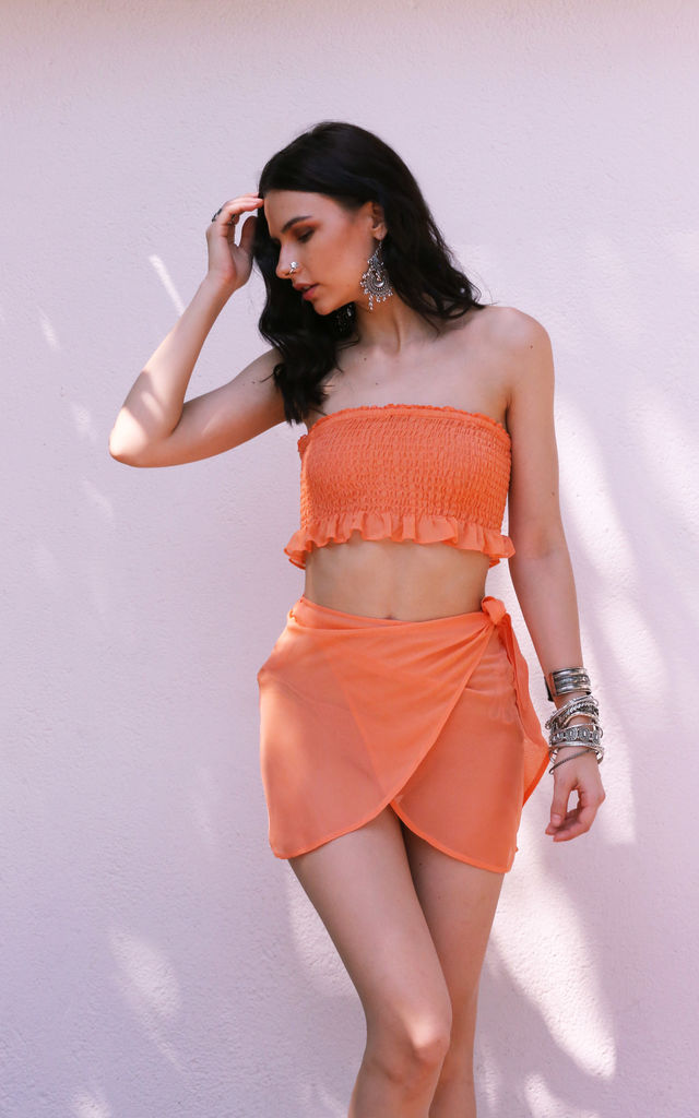 Orange sheer wrap skirt by Ambi The Brand