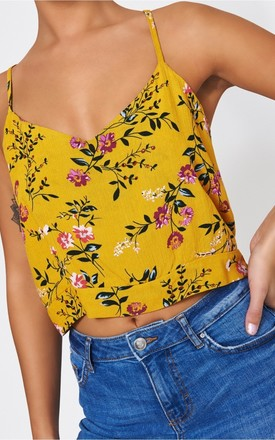 Poppy Yellow Floral Crop Top by The Fashion Bible
