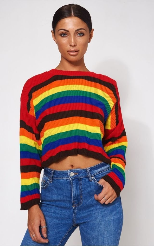 Multicoloured Rainbow Stripe Jumper by The Fashion Bible