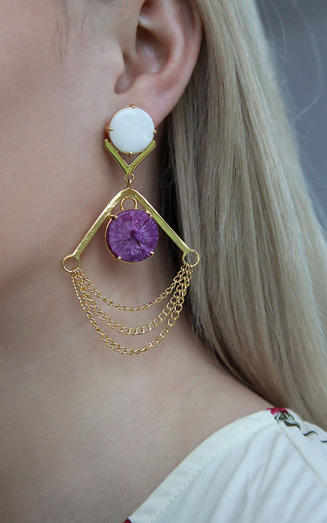 White and Purple Drape Statement Earrings by Free Spirits