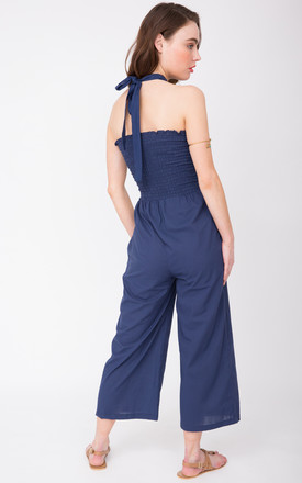 2 in 1 Wide Leg Culotte Jumpsuit and Trousers Blue by likemary