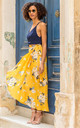 Maxi Wrap Skirt Yellow Floral Print by likemary