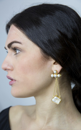 White Long Statement Earrings by FreeSpirits