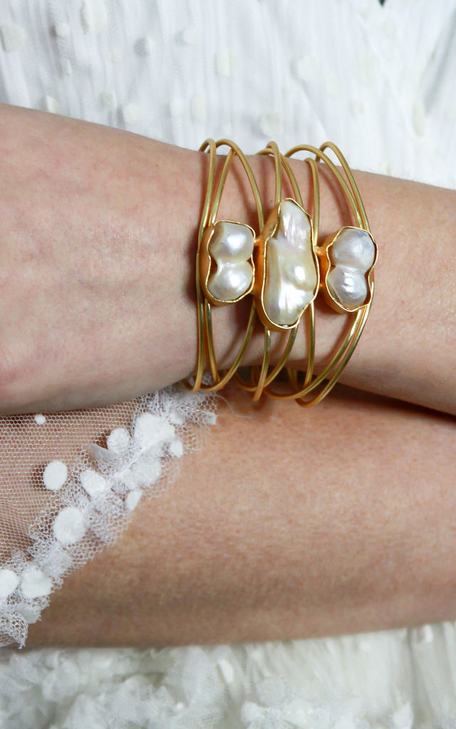 White Opal Statement Cuff Bracelet by Free Spirits