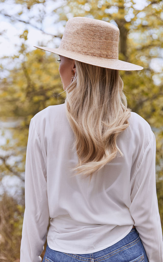 NATURAL PALM LEAF FEDORA by Lack Of Color
