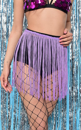 Festival Black Extra Large Fishnet Tights with Lilac Fringe Detail by PM TIGHTS