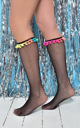 Festival Black Fishnet Knee Highs with Multicoloured Pom Pom Detail by PM TIGHTS