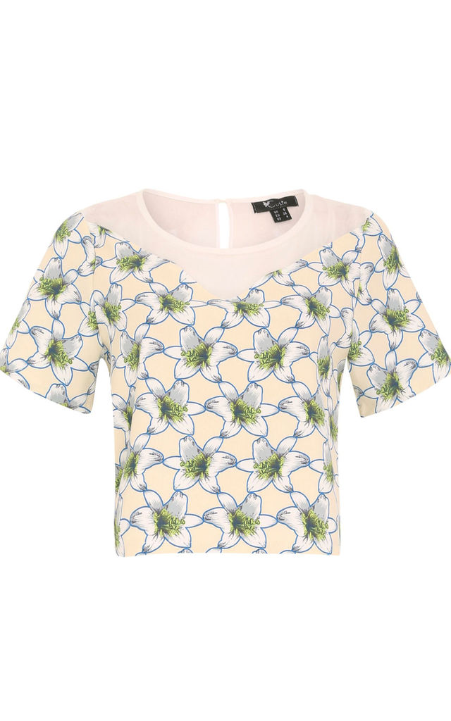 Chiffon Panel Top by Cutie London
