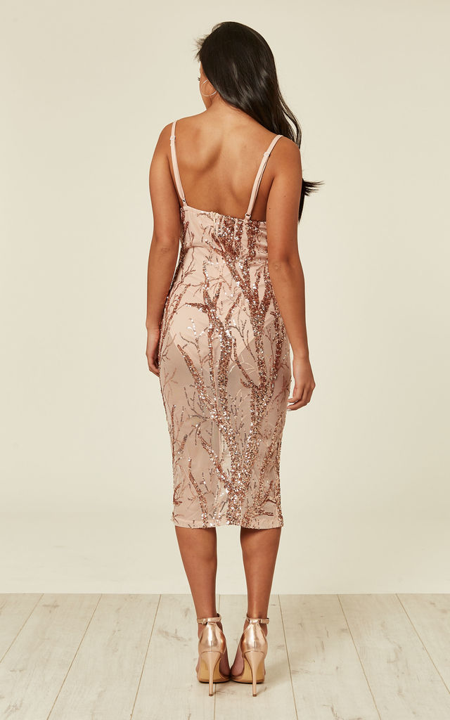 51f7a66c278d CANDICE LUXE TREE ROSE GOLD NUDE SEQUIN LEAF SHEER BODYSUIT MIDI DRESS by  Nazz Collection