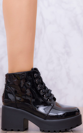 HOTHEAD Lace Up Cleated Sole Platform Block Heel Ankle Boots Shoes - Black Patent Style by SpyLoveBuy