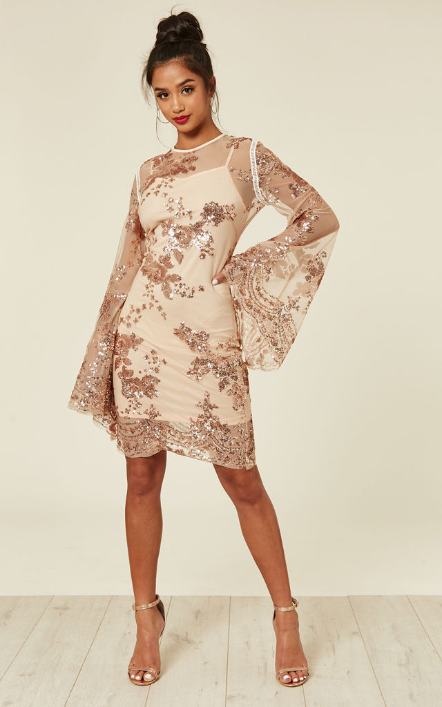 082cc567274 Flirt Nude   Rose Gold Batwing Floral Sequin Scalloped Kaftan Dress