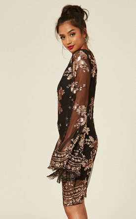 FLIRT BLACK & ROSE GOLD BATWING FLORAL SEQUIN SCALLOPED KAFTAN DRESS by Nazz Collection