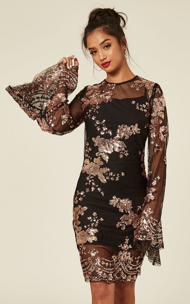 b5f38ae8161 Flirt Black   Rose Gold Batwing Floral Sequin Scalloped Kaftan Dress