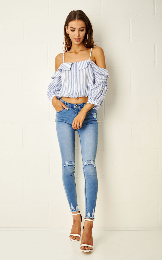 Riviera Blue Stripe Cold Shoulder Top by Frontrow Limited