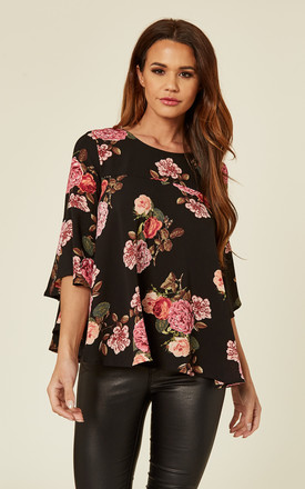 Black Floral Print Blouse by AX Paris Product photo