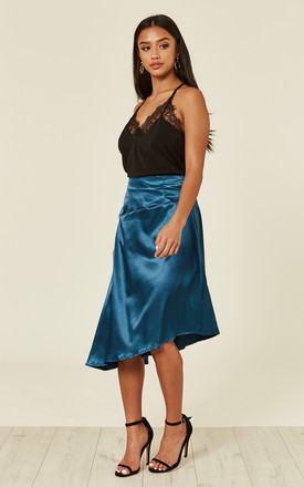 Teal satin skirt by UNIQUE21