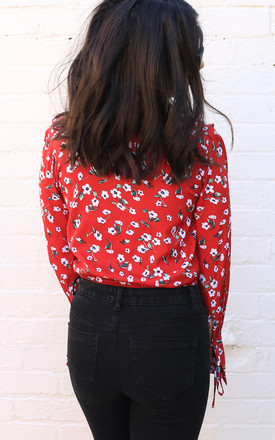 Ditsy Floral Print Wrap Over Frill Long Sleeve Blouse Bodysuit in Deep Red & White by One Nation Clothing