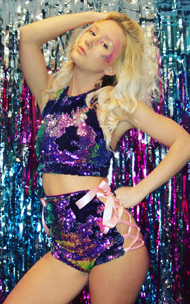 COSMOS Flip Sequin Shorts *PURPLE/TOURMALINE by Loonigans