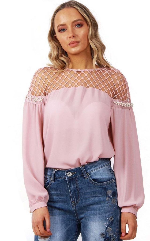 Baby Pink Net Mesh Sheer Blouse Top With Pearl Detail by Urban Mist