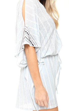 Pale Grey Pin stripe Oversized Cut Out Playsuit With Diamante Arm Detail by Urban Mist