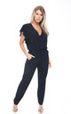 Navy Ruffle Sleeve V Neck Jumpsuit With Lace by Urban Mist