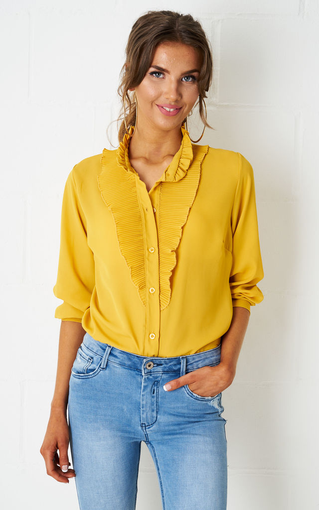 Chloe Ruffle Blouse In Yellow by love frontrow