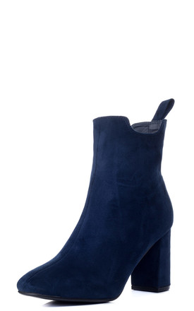 REFINED Block Heel Ankle Boots Shoes - Blue Suede Style by SpyLoveBuy