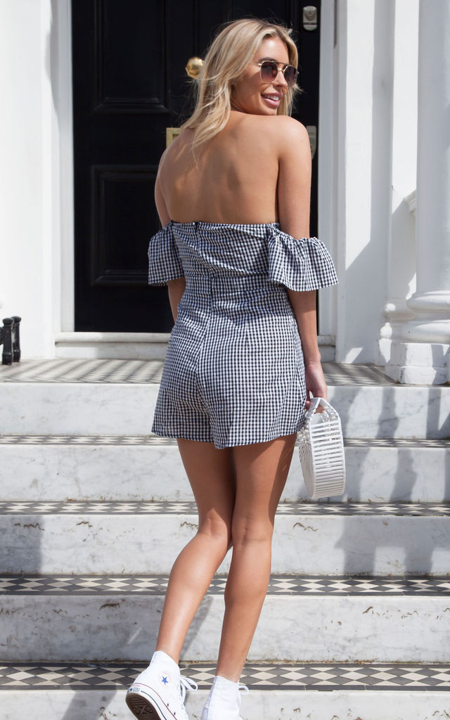 Tie Front Playsuit In Black Gingham by Styled In London