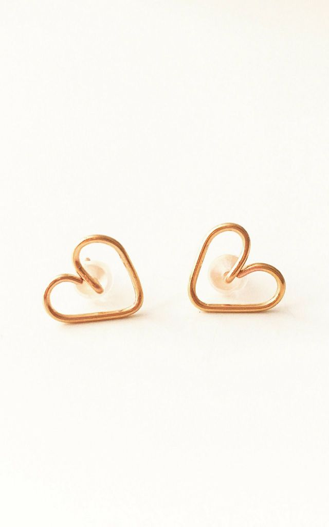 Gold Heart Stud / Post Earrings by Becky's Jewellery Boutique