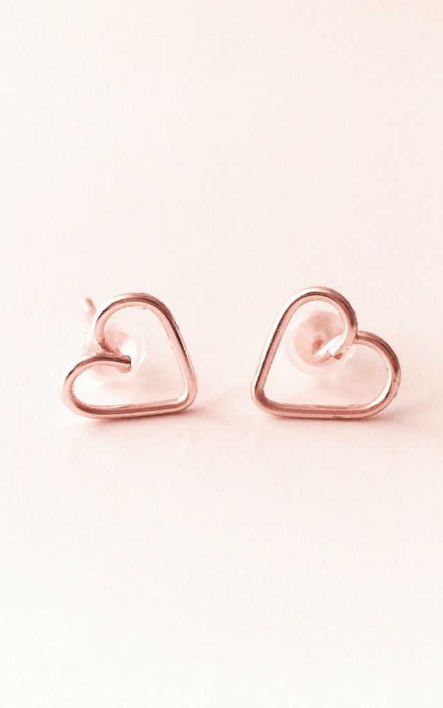 Rose Gold Heart Stud / Post Earrings by Becky's Jewellery Boutique