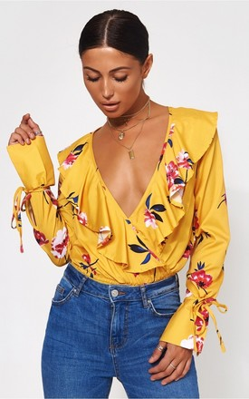Raye Yellow Floral Frill Bodysuit by The Fashion Bible