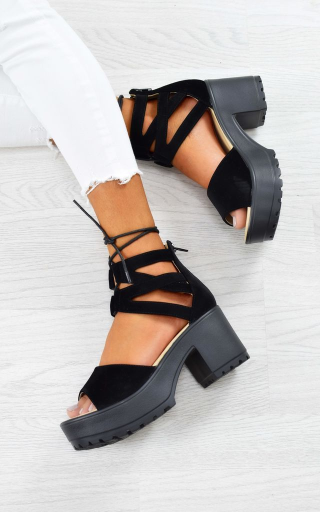 Lace Up Cleated Sole Block Heel Sandals - Black Suede by AJ | VOYAGE