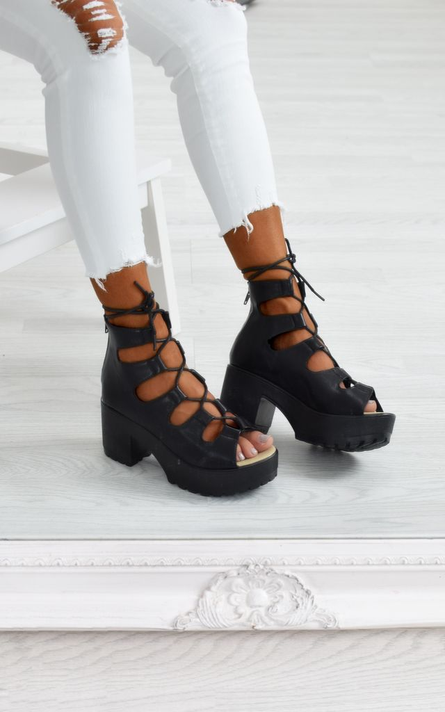 Chunky Lace Suede Wedge Sandals - Black PU by AJ | VOYAGE