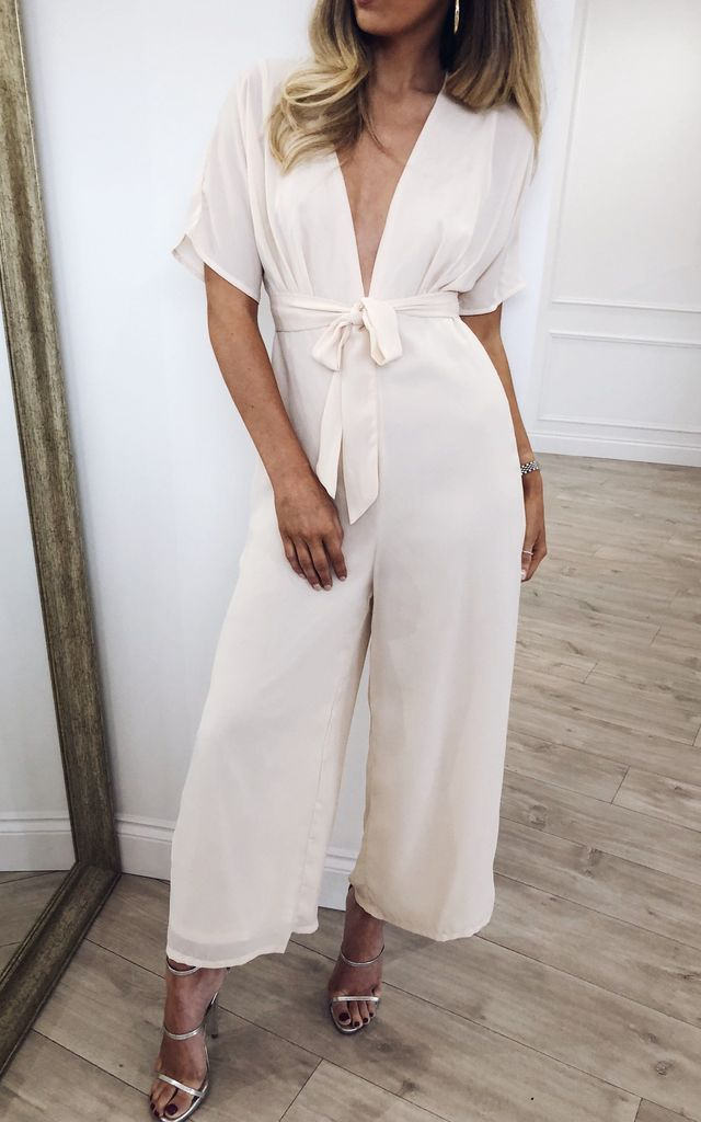 Rylie Culotte Jumpsuit - Cream by Pretty Lavish